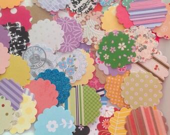 100 scallop circles, 1.5 inch die cuts, 1.25 inch die cuts, paper die cuts, multi coloured Scallop circles, destash