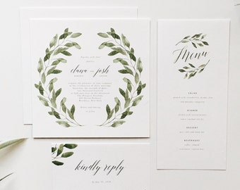 Printable Olive Branch Wedding Invitation Suite (DIY invitations, digital files, printable)