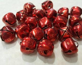 Bells,  Jingle Bells, Christmas Ornaments/ Charms/Pendants/Decor - 20pc - 1/2 inch (10mm) - metal -red