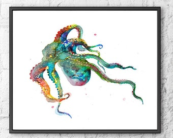 Octopus print, watercolor painting nautical art, octopus art, nautical decor, sea life, bathroom wall art, ocean life, coastal art  - F143
