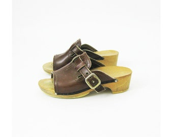 70s Wood and Leather Clogs 6
