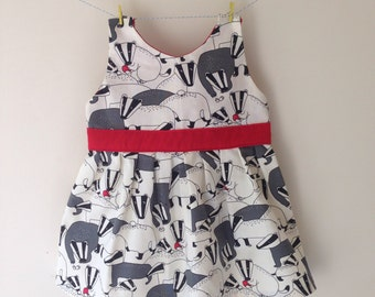 Badger dress, badger outfit, badger clothes, badger print, badger gift, party dress, toddler dress, baby dress, quirky dress