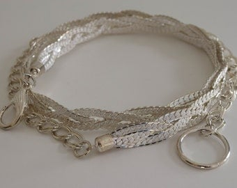 ElFIN Filigree Plaited Mesh Ornate Hook Silver Tone Metal Belt