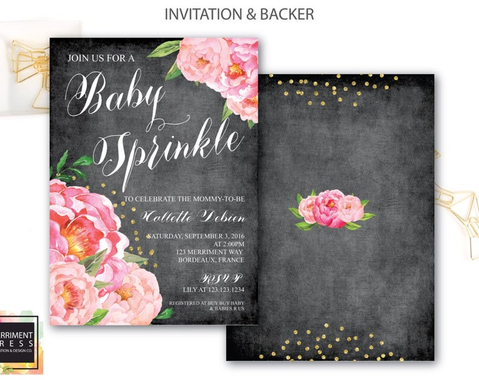 Baby Sprinkle Invitation // Chalkboard // Peonies // Peony// Baby Sprinkle Invite // Pink // Gold Glitter // BORDEAUX COLLECTION