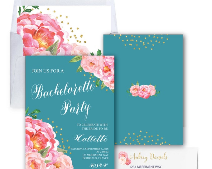 Peony Bachelorette Party Invitation // Teal // Aqua // Peonies // Bridal / Pink / Blush / Calligraphy // Gold Glitter // BORDEAUX COLLECTION