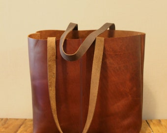 Sale!!! Distressed brown leather tote bag, Leather bucket bag, Vintage Brown Tote, brushed sturdy leather bag