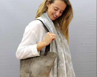 Sale!!! Small leather tote bag Distressed taupe leather tote Stephany handmade tote bag!