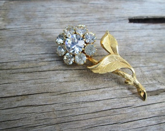 Vintage Clear Rinestone Gold Tone Flower Brooch,  Transparent Crystal Floral Pin