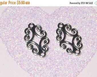 10% off Two (2) .925 Sterling Silver 17x10mm Filigree Link Components #890
