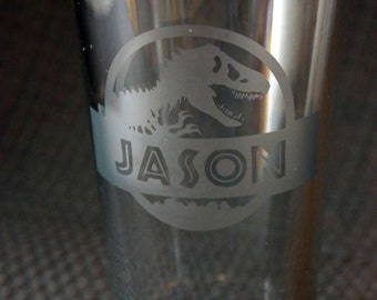 Personalized Jurassic Park Pint Glass - personalized dinosaur pint glass - great as a gift or for wedding parties