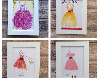 Collection set of 4 colourful retro dress illustrations.