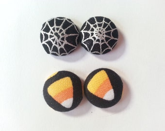 Halloween- Halloween Earrings- Spiderweb Earrings- Candy Corn Earrings- 5/8 Fabric Covered Button Earrings- Gifts For Her- Rockabilly