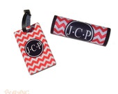 Monogrammed Luggage Handle Wrap and coordinating Luggage Tag SET - Personalized Luggage Tag - Personalized - Monogram Gift - #LS55-U5655