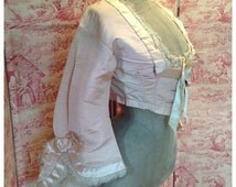SOLD~ so beautiful rare antique pastel pink silk and tulle net 1860s Victorian bodice with frothy bow bell sleeves~ period display