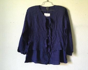 Vintage Blouse - Loose Layered Top Sheer Purple