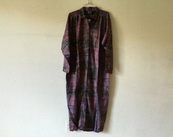 Vintage 80s Tribal Print Button Up Dress