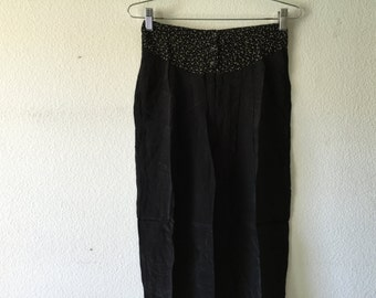 Vintage 1980s Women High Waist Pants Black