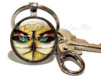 Dragonfly Keychain with Clip, Key Fob with Clasp, Dragon Fly Key Chain, Key Ring, Keyring, Steampunk