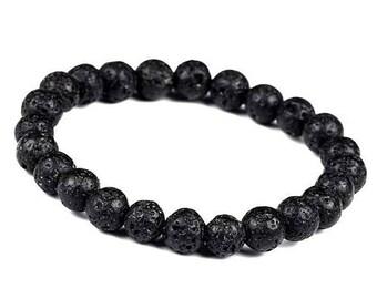 8mm Lava Rock, Lava Rock Bracelet, Basalt, Volcanic Rock Beaded Bracelet,Lava Stretch Bracelet,Men Black Lava Rock Bracelet,Men Lava Jewelry