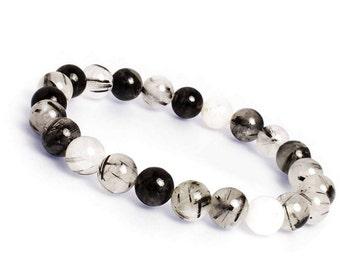 10mm Black Tourmalinated Quartz Bracelet,Tourmalated Quartz Bracelet,Quartz Mala, Black Rutilated Quartz Bracelet,Tourmaline Quartz Bracelet