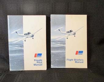 Private Pilot Manual, Piper Flight Briefs Manual, 1979 Pilot Traning Books, Vintage Aviation Book, Flight Book, 2 Piper Airplane Books