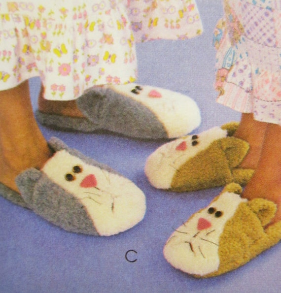 Plush bear cat slippers mccall 39 s crafts pattern 3471 for Dog crafts for adults