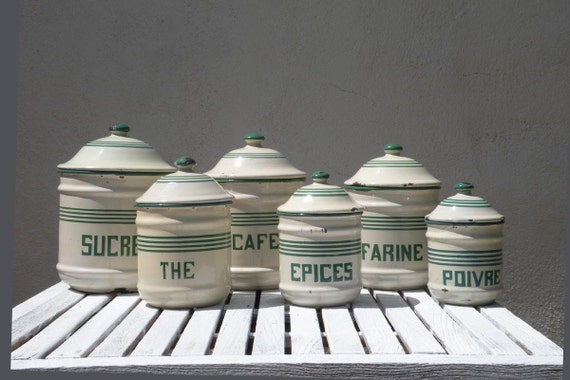 French vintage enamel storage canisters, vintage enamelware, French kitchen containers, vintage kitchen, shabby chic, country home,