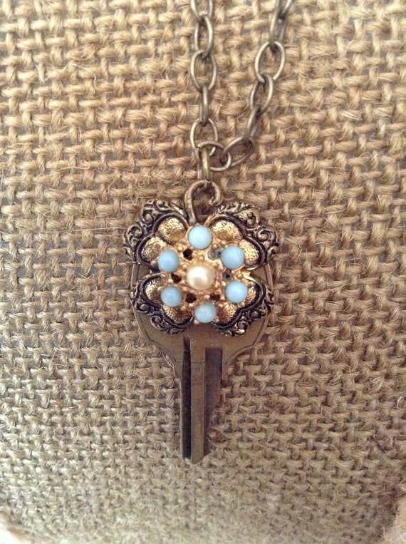 Vintage Key Pendant with Repurposed Vintage Costume Jewelry Pieces