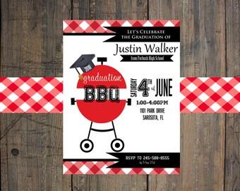 Graduation Invitation - Cookout, BBQ - Digital File