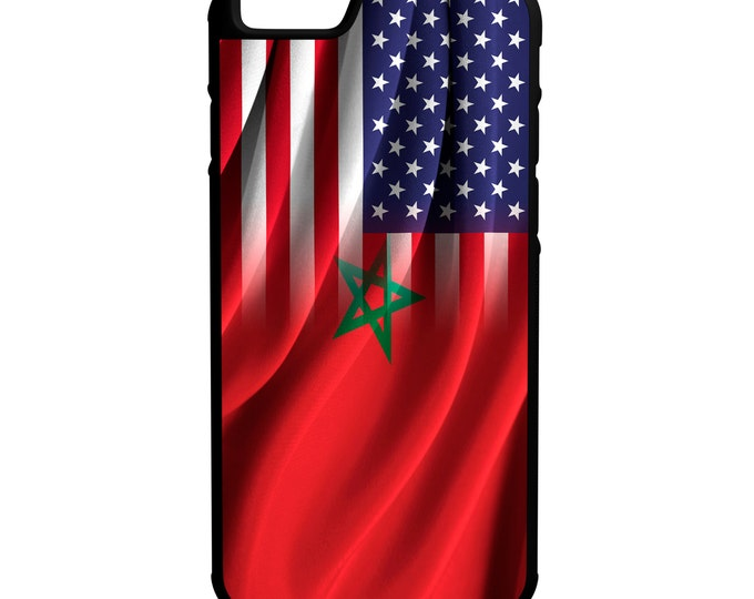 Morocco US Flags iPhone Galaxy Note LG HTC Hybrid Rubber Protective Case