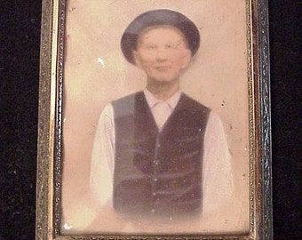 Old hand painted photo Man Standing Still 5 x 4 Oval