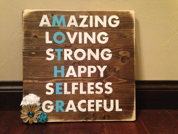 Mother's Day Wood Sign/ Mom Rustic Wood Sign/ Mother's Day Gift/ Gift for Mom/ Rustic Wood Sign with Flowers