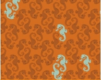 SALE Mendocino - Seahorses Orange - Heather Ross - Windham (40941-8)