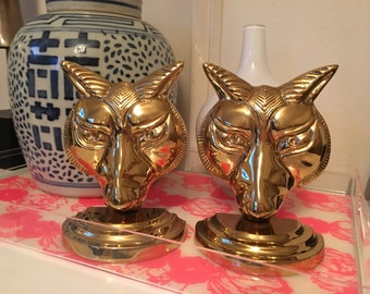 Vintage Solid Brass Fox Bookends Brass Bookends Brass Foxes Brass Wolf Bookends Fox Busts Brass animal bookends