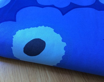 "Marimekko Blue on Blue BIG Unikko fabric piece, half yard, 18x56"" RARE,  Finland"