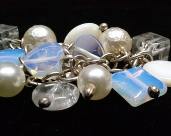 Sterling Silver, Moonstone, Pearls and Handblown Glass Beaded Cha Cha Bracelet