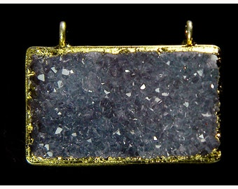 Glamorous Starry Grey Night Raw Rough Druzy Crystal Gold Sterling Silver Pendant