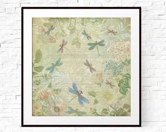 Dragonfly Wall Art, Girls Room Decor, Pretty Prints, Botanical Print, Dragonfly Gift, Dragonfly Decor, Pastel Print, Pastel Wall Art