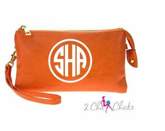 Monogram Crossbody Purse, monogram clutch, monogram purse, monogram wristlet, personalized purse wallet crossbody Tennessee Texas Orange