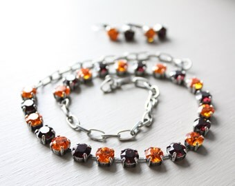 Virginia Tech Swarovski Crystal Necklace and Earring Set