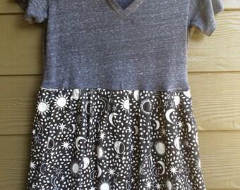 Custom Tshirt Dress with Moon and Stars Digitally Printed Organic Cotton Skirt- Size Small