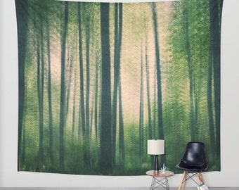 SALE tapestry, large size wall art, wall decor, photo tapestry, abstract tapestry, wall hanging, woodland wall art, tree tapestry, green