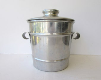 Vintage  Aluminum Ice Bucket - Atomic - Henry and Miller - Craftware - Mid Century Barware
