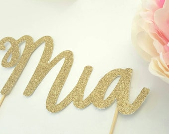 NAME Cake Topper | custom made name | Birthday Cake Topper | First Birthday Party | Gold Glitter topper | Decoration | Banner | Party Decor