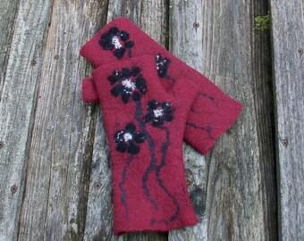 Hand felted Fingerless Gloves