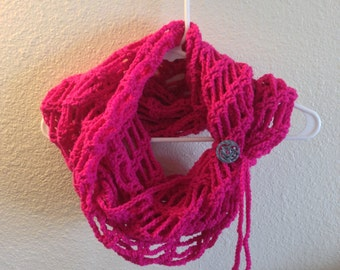 Pink Convertible Infinity Scarf | Button Tie Embellishment | Infinity Scarf | Pink Scarf | Fashion Scarf | Crochet Scarf
