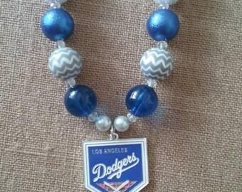 LA Los Angeles Dodgers MLB Baseball Bubble Gum Bead Necklace