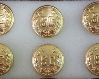 "Professional Removable Set Of 6 Gold ""SC"" With Wreath Buttons For Santa's Suit"