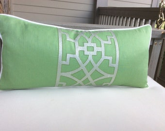 "Schumacher Mary Mcdonald ""Don't Fret"" green linen embroidery pillow cover!"