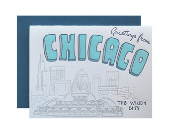 Letterpress Chicago Card, Retro Postcard Style, Mid Century 50s 60s 70s, Chicago skyline, Souvenir, buckingham fountain, hand lettering